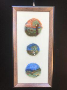"Three Landscapes, 7x14"". $75."
